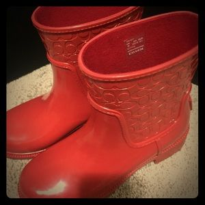 NEW- COACH red rain boots - 6